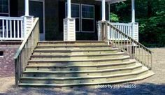 Make them as wide as possible. It will make a small porch seem larger, a large porch more grand, and will so often enhance the look of any home. This porch would look quite differently with a standard straight staircase.