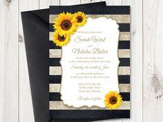 Sunflower Printable Wedding Invitation by ShishkoTemplates on Etsy
