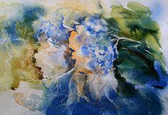 Meine Gemälde. Olga Vinnitskaya. Hortensien mit Spachtelmasse, Tinte, Wodka, Holzbeize.