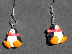 Penguin with Scraf Earrings - Penguin Earrings - Penguin Glass Earrings - 3 Different Styles to Choose From