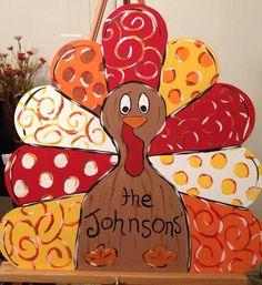 Tom The Thanksgiving Turkey Wooden Door Hanger Wreath