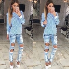Sexy Long Sleeve Bowknot Backless Stripe Bandage Blouse ($14) ❤ liked on Polyvore featuring tops, blouses, long sleeve tops, sexy long sleeve tops, blue blouse, plus size tops and sexy blouses