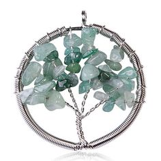 Wired Tree Of Life Necklace, Handmade Pendant, Necklace, Jade, Green, Gemstone, Semi Precious Stones, Pendant