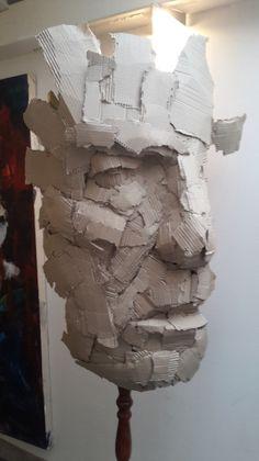 Sculpture Head, Cardboard Sculpture, Cardboard Art, Paper Sculptures, 3d Art, Spoon Art, Trash Art, Art Decor, Decoration