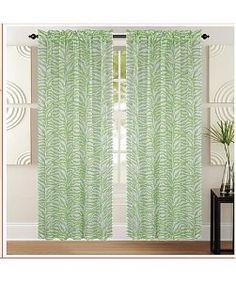 Kashi HomeZebra Rod Pocket Curtain Panels 55 x 90 - Two Pack - Lime