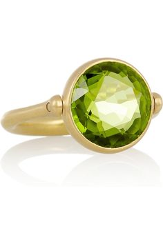 Marie-Hélène de Taillac|Swivel 22-karat matte-gold peridot ring