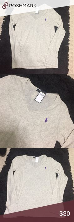 NWT Ralph Lauren shirt Your must have, Ralph Lauren Polo long sleeve v-neck! This top is a classic! Perfect gray color, easy to match with anything! Great for all seasons. Super light & comfy. 💜 Polo by Ralph Lauren Tops Tees - Long Sleeve