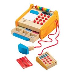 Buy Hape Toys Kids Wooden Checkout Store Cash Register Educational Pretend Playset at Wish - Shopping Made Fun Hape Toys, Paint Keys, Play Money, Cash Register, Little Tikes, Wooden Puzzles, Imaginative Play, Wood Toys, Pretend Play