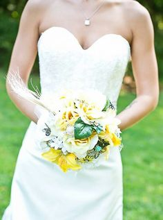 Beautiful & colorful Bride's Brooch bouquet using silk flowers