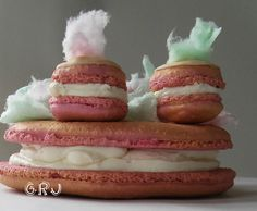Cotton Candy Macrons, covered in gold dust   check out more macarons on my website    #macaron #gold #cottoncandy #creative #edibleart #foodart #foodporn #art #food #italianmeringue #meringue #buttercream #cookie #sandwhichcookie #treat #candy #birthday #cake #celebrate #celebrationfood #guests #partyfavor #wedding #bridesmaid #pastels #metallic #pink #seafoam #fluffy #sugar #sweet #halloween #whimsy  #magic #delicateart