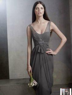 bridesmaid dress, long grey, removal of pin
