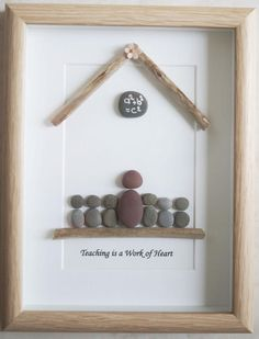 Pebble Art framed Picture Teaching is a Work of Heart
