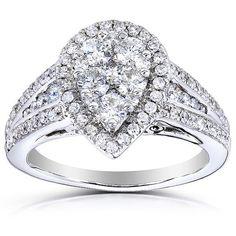 Pear Shape Diamond Engagement Ring 1 Carat ctw in 14k by Kobelli