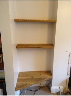 Reclaimed Upcycled Scaffold Shelving made to order Recessed Shelves, Floating Shelves Diy, Wood Shelves, Old Victorian Homes, Victorian Interiors, Scaffold Shelving, Hat Shelf, Maple Floors, Living Room Shelves
