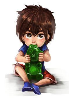-Hiro with a gummy bear-  Awwww!