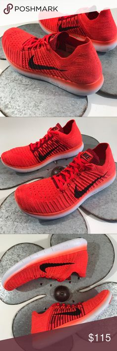New Nike Free RN Flyknit Men Running (SZ 11) Nike Free RN Flyknit Mens Running Shoes 831069 600 Bright Crimson/Black/University Red/White | Hypernational Color New without Box Nike Shoes Athletic Shoes