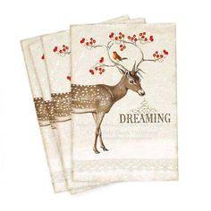 Deer, cards, dreaming, Christmas, postcard, note card, red berries, robin, reindeer, vintage style, woodland