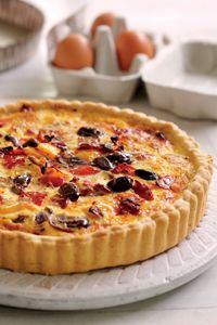 Roasted pepper and chorizo quiche recipe