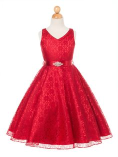 Red Lovely Lace V-Neck Flower Girl Dress (Available in Sizes 4-16 in 6 Colors)