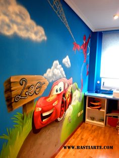 rayo mcqueen habitaciones - Buscar con Google Boys Car Bedroom, Kids Bedroom Paint, Boy Toddler Bedroom, Cool Kids Bedrooms, Toddler Rooms, Boy Room, Kids Room, Car Wall Art, Kitchen Room Design