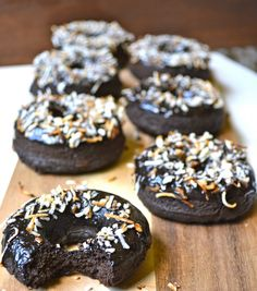 Dark Chocolate Coconut Mocha Donuts! Rich and chocolatey and totally gluten free! www.maebells.com