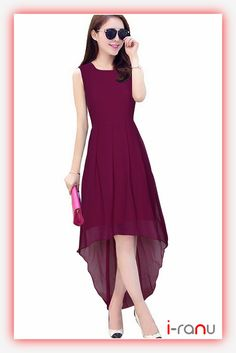 Wine georgette partywear straight western dress for womens - i-ranu Georgette Fabric, Western Dresses, Long Dresses, Casual Wear, One Piece, Wine, How To Wear, Fashion, Casual Outfits
