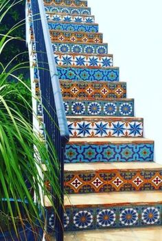 Tile is a popular material for covering various parts of the house such as floors, walls, and stairs. Tiles are … Tiled Staircase, Tile Stairs, House Stairs, Cottage Staircase, Front Stairs, Staircase Remodel, Modern Bohemian, Bohemian Decor, Handmade Tiles