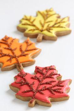 "maple leaf decorated cookies with sanding sugar ""veins"""