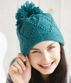 Chunky Diamond Pom Pom Hat Knitting Kit - #ad One skein hat with great texture. Kit is only $6.89 - that's less than the price some patterns. Quick project in bulky yarn. tba