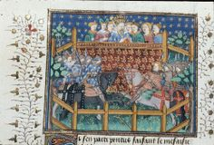 Pretty medieval manuscript of the day is another joust! This scene depicts Patrices jousting with the Duke of Burgundy. The illumination is from the Talbot-Shrewsbury book, a manuscript made as a wedding gift for Margaret of Anjou upon her wedding to...