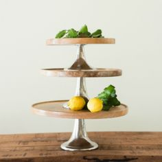 Shabby Chic Wood and Metal Cake Stands, Set of 3
