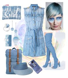 """""""Denim Blue"""" by kaylyn-80864 ❤ liked on Polyvore featuring Balmain, L'ANZA, Christian Dior, Lacoste, Swarovski, Lord & Taylor, Herschel Supply Co., Eric Javits, Iphoria and Billabong"""