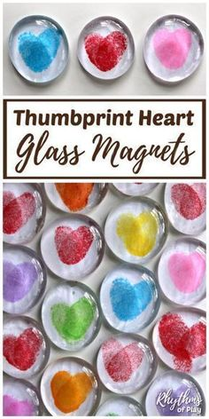 DIY Thumbprint Heart Glass Gem Magnets are a homemade keepsake gift idea kids ca.DIY Thumbprint Heart Glass Gem Magnets are a homemade keepsake gift idea kids can make. Thumbprint heart magnets are perfect for Valentine's Day, Moth. Mason Jar Crafts, Mason Jar Diy, Cadeau Parents, Valentine's Day Quotes, Mother's Day Diy, Valentine Day Crafts, Homemade Valentines, Valentine Party, Valentine Games