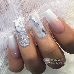 "TheGlitterNail 🎀 Get inspired! on Instagram: ""✨ French Fade, Marble and Glitter on Coffin Nails ✨ • 💅 Nail Design by @nailsbytoni_ 💝 Follow her for more gorgeous nail art designs! •…"""
