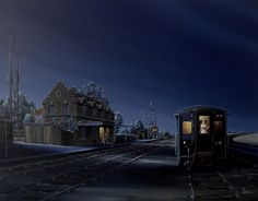 La gare du vieux dieu acrylic on canvas www.olamboray.com