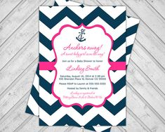 baby girl nautical baby shower invite - navy blue and hot pink - chevron baby shower invitation - anchors away - printable (793)