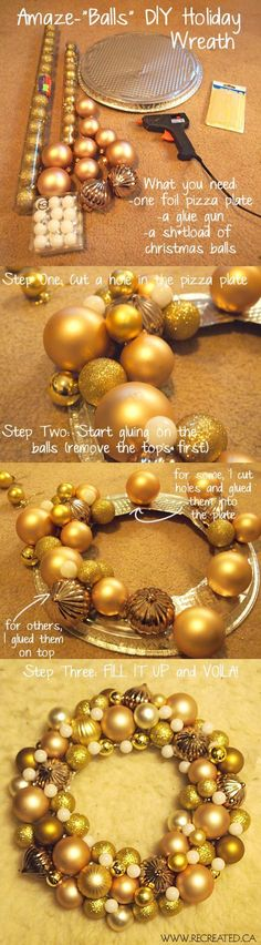 Wreath DIY - simple project made with a pie tin and inexpensive Christmas balls.