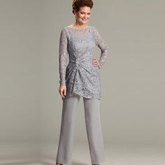 1d2def506ad 2015 Silver Mother Of The Bride Pant Suits Scoop Long Sleeve Lace Pleat  Chiffon Pants Suit