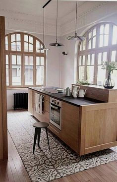 If you are looking for Tile Rug Inlay Bathroom Decor Ideas, You come to the right place. Below are the Tile Rug Inlay Bathroom Decor Ideas. Bathroom Floor Tiles, Kitchen Tiles, Kitchen Decor, Kitchen Wood, Diy Kitchen, Stylish Kitchen, Bathroom Colors, Kitchen Designs, Floor Design