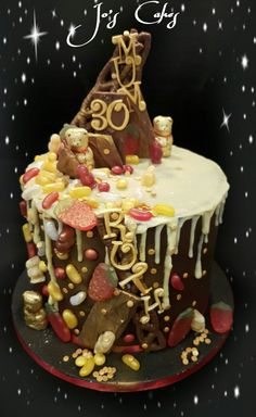 Sweet Indulgence Chocolate drip cake, with Lindt bears, Haribo, Skittles, Jellies Babies, Jelly Beans, Curlywurly's and Daim bars