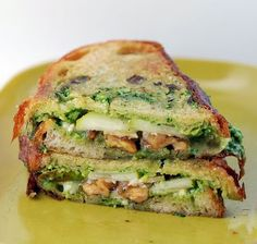 Pear, Brie, Caramelized Walnut, and Arugula Pesto Panini.  Substitute a traditional pesto for pesto mayo.