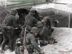 Anti-tank gun with crew in action