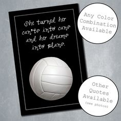 $10 Custom Volleyball Poster with Inspirational Quote. Sports Room Decor, Home Decor, Wall Decor. Quote adjustable. Available in any size. Digital File.    Etsy Shop: MeghansView