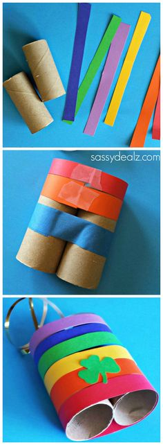 Rainbow Binoculars made out of toilet paper rolls!
