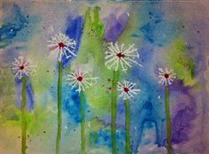Use liquid masking fluid with toothpicks to protect the dandelion seed areas and wash with watercolour. Use a rubber to remove the masking fluid when painting is dry. Kids Art Class, Art For Kids, 2nd Grade Art, Grade 2, Dandelion Art, Kindergarten Art, Preschool, Collage, Art Classroom