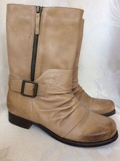 VINCE CAMUTO Women's Shada Tan Goat Leather Mid Calf Motorcycle Boots Size  7 #VinceCamuto #
