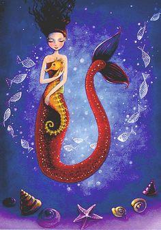 Mermaid hugging sea horse artist Illustration by Mila Marquis Mermaid Fairy, Mermaid Tale, Dark Mermaid, Illustrations, Illustration Art, Arte Sketchbook, Mermaids And Mermen, Paintings Of Mermaids, Fantasy Mermaids