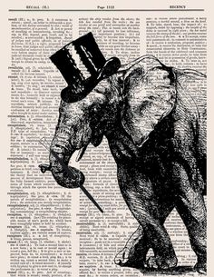 Tap dancing elephant top hat and cane printed as dictionary art on old dictionary book page