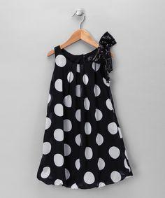 Black Polka Dot Dress - Girls