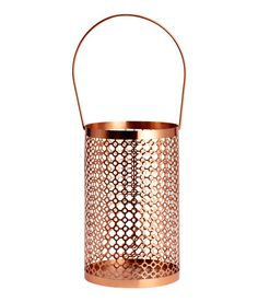 Check this out! Candle lantern in metal with a perforated pattern. Handle at top. Diameter 5 3/4 in., height 8 1/2 in. - Visit hm.com to see more.